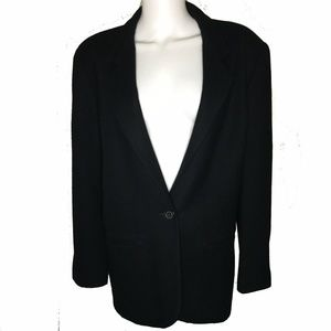 100% Wool Blazer Black 1 Button Jacket USA made!